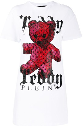 Philipp Plein teddy bear-print T-shirt mini dress