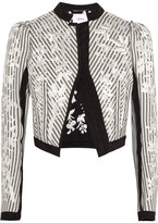 Erdem Brice Embroidered Striped Cotton Jacket - Ecru