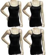 Simlu Women's Camisole Built-in Shelf Bra Adjustable Spaghetti Straps Tank Top Pack 4 Pk Black White Charcoal Red