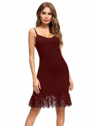 Dizzlle Women's Summer Adjustable Cotton Spaghetti Strap Ruffle Camisole Dress Slip Lace Extender - Red - Large