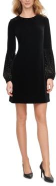 Calvin Klein Velvet Embellished Balloon-Sleeve Sheath Dress