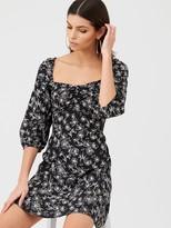 Very Puff Sleeve Tea Dress - Print