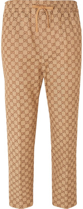 Gucci Beige Cropped Tapered Logo-Jacquard Cotton-Blend Suit Trousers - Men - Brown