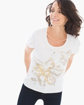 Chico's Lace-Front Foil Tee