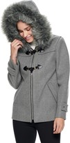 Nine West Women's Hooded Faux-Fur Trim Toggle Coat