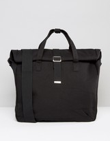Asos Satchel In Black Canvas With Roll Top