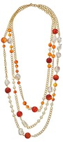 "Kenneth Jay Lane 36"" Three Row Link Multi Beads Necklace"