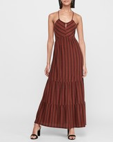 Express Striped Halter Flounce Maxi Dress