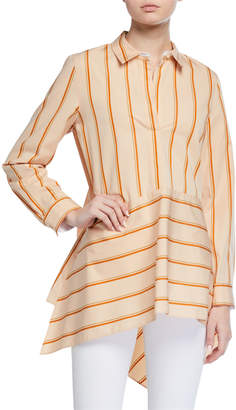 Lafayette 148 New York Madelena Stripe Asymmetric Tunic Blouse