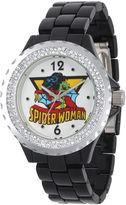 Marvel Womens Crystal-Accent Black Strap Spider Woman Bracelet Watch