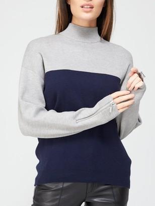 Very Turtle Neck Zip Cuff Detail Colour Block Jumper - Navy/Grey Marl