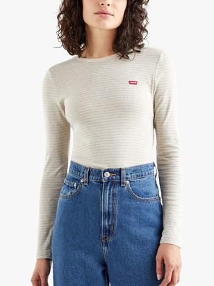 Levi's Baby Long Sleeve Stripe T-Shirt, Aya Marble Heather Grey