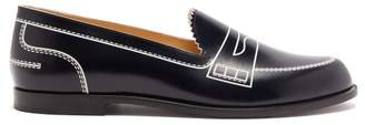 Christian Louboutin Mocalaureat Trompe-l'oeil Leather Penny Loafers - Womens - Navy White