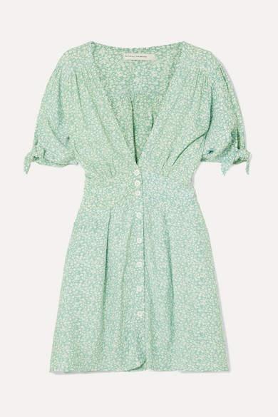 Faithfull The Brand Marianne Floral-print Crepe De Chine Mini Dress - Mint