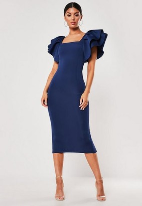 Missguided Navy Square Neck Scuba Midi Dress