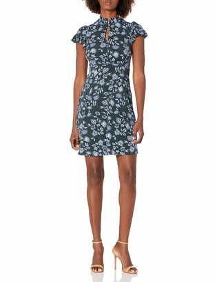 Lark & Ro Women's Lightweight Ruffle Short Sleeve Split Neck Fit and Flare Dress