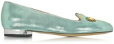 Charlotte Olympia Mechanical Verdigris Textured Metalllic Suede Kitty Flats