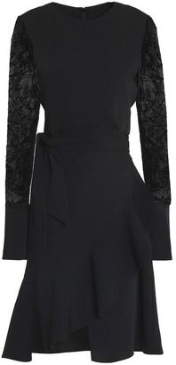GOEN.J Embroidered Tulle-paneled Ruffled Crepe Dress
