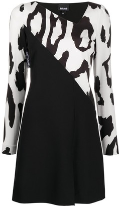 Just Cavalli Bi-Colour Leopard Mini Dress