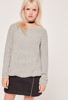 Missguided Grey Chunky Knit Cozy Sweater
