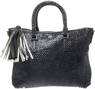 Anya Hindmarch Black Woven Leather Huxley Tote
