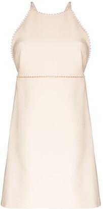 Miu Miu Pearl-Trimmed Wool And Silk-Blend Mini Dress