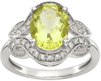 Sterling Gemstone Swirl & 1/6 cttw Diamond Ring
