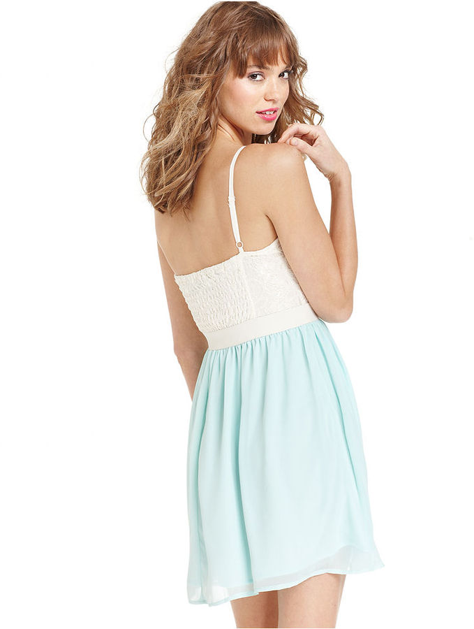 Ali & Kris Juniors Dress, Spaghetti-Strap Lace Bustier