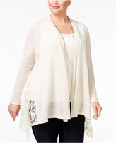 Style&Co. Style & Co Plus Size Lace-Trim Open-Front Cardigan, Only at Macy's