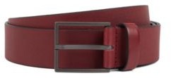 HUGO BOSS Italian Made Belt In Embossed Leather With Textured Buckle - Dark pink