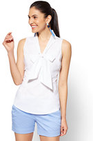 New York & Co. 7th Avenue - Sleeveless Tie-Front Shirt - White