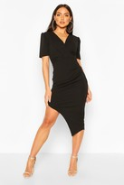 boohoo Wrap Front Ruched Side Asymetric Midi Dress