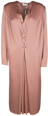 Lanvin Peach Pleat Detail Long Sleeve Dress S