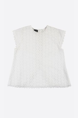 Lowie Broderie Split Back Blouse - S - White