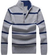 OCHENTA Men's Stand Collar 1/4 Zip Pullover Stripped Knitted Sweater Tag Size XL-US L