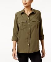 NY Collection Tab-Sleeve Utility Blouse