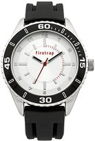 Firetrap Men's Quartz Watch with Silver Dial Analogue Display and Black Silicone Strap FT2017B