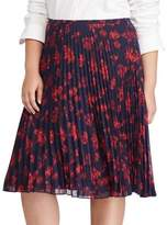 Lauren Ralph Lauren Plus Pleated Floral Midi Skirt