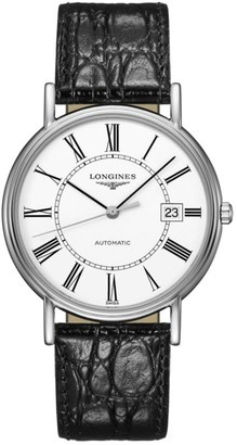 Longines Presence Collection Stainless Steel Leather-Strap Watch