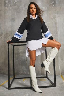 boohoo Colour Block Sweater Dress