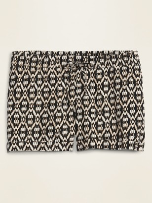 Old Navy Mid-Rise Plus-Size Printed Linen-Blend Shorts