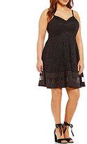 Jodi Kristopher Plus V-Neck Illusion-Inset-Hem Lace Skater Dress