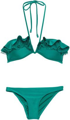 Zimmermann Freja Point D'esprit-trimmed Ruffled Halterneck Bikini