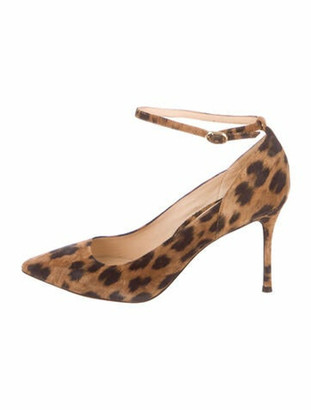 Marion Parke Suede Printed Pumps Brown