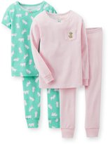 Carter's Infant/Toddler Girls 4 Piece Snug-Fit Cotton Puppy Pajama Set (24M, )