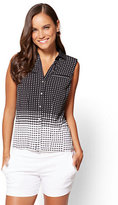New York & Co. 7th Avenue - Button-Front Shell - Black - Dot Print