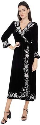 Johnny Was Erith Velvet Kimono Wrap Dress (Black) Women's Dress