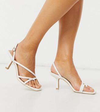 Raid Wide Fit Anina square toe strappy sandals in white