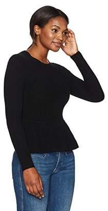 Lark & Ro Women's 100% Cashmere Soft Peplum Sweater