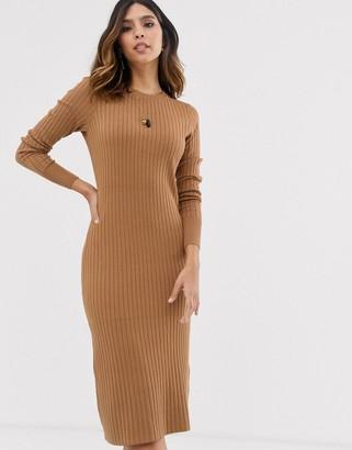 Vero Moda ribbed midi sweater dress in tan